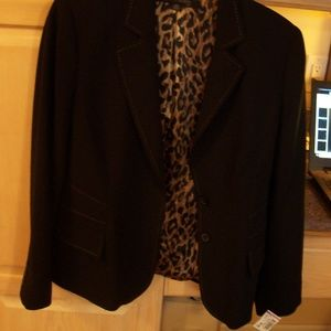ANNE KLEIN BLACK BLAZER JACKET 10P ANIMAL PRINT